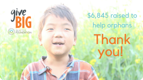 Your gifts through GiveBIG are giving big to orphans!
